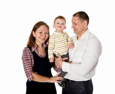 Free Mother, Father And Their Child Together In Studio Royalty Free Stock Photo - 17927865