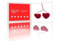 Free Valentine Greeting Card With Two Red Fibre Hearts Royalty Free Stock Photos - 17928438