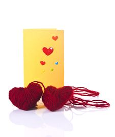 Free Valentine Greeting Card And Two Red Fibre Hearts Stock Photo - 17928520