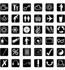 Free 36 Different Icons - White - Background Black Stock Photography - 17928742