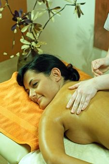 Woman During Massage Stock Images