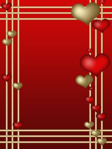 Free Valentines Frame With Red Hearts Royalty Free Stock Images - 17930359