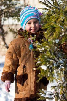 Free Beautiful Girl Near Firtree  In Winter Stock Image - 17932591