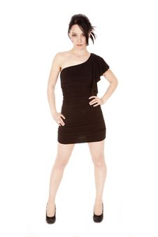 Free Woman Black Dress Hands Hips Royalty Free Stock Image - 17932616