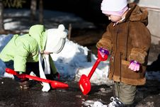Childrenl Playing  In Winter Stock Photography