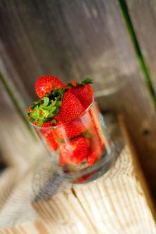 Strawberry In Glass Stock Photo