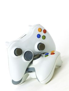 Free Two White Hitech Gamepads Royalty Free Stock Photos - 17933718