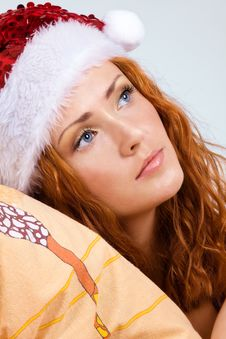 Free Beauty Red Woman In Santa Hat Stock Photo - 17934100
