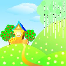 Free Vector Rural Summer Landscape Royalty Free Stock Photography - 17934217