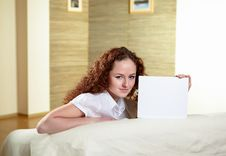 Portrait Of  Woman Holding Blank Card Stock Photos