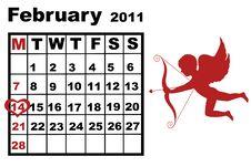 Free February Calendar Royalty Free Stock Photos - 17938688