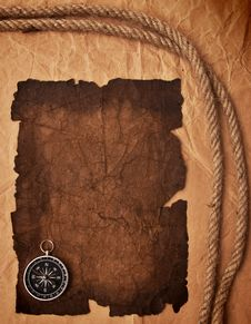 Old Paper, Compass And Rope Stock Image