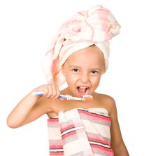 Free Happy Little Girl With Toothbrush Stock Images - 17938974
