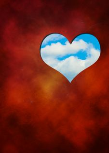 Free Red Background, Heart, Blue Sky Stock Image - 17939081