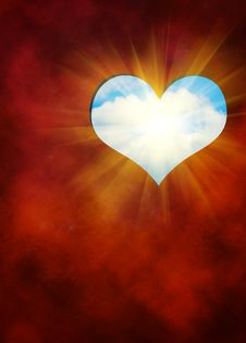 Free The Cut Out In Red Hearts Against Blue Sky Stock Photography - 17939102