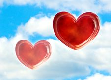 Free Red Two Hearts Against Blue Sky Royalty Free Stock Images - 17939119