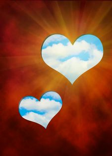 Free The Cut Out In Red Hearts Against Blue Sky Stock Image - 17939161