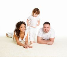 Free Mother, Father And Their Child Together In Studio Royalty Free Stock Photo - 17939775