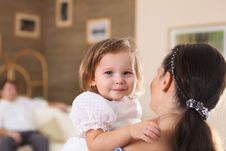 Young Mother With A Daughter At Home Stock Image