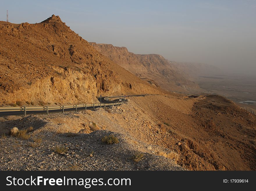 Road way from Dead sea to Judea Desert