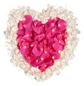 Free Pink And Cream Rose Petal Heart Stock Image - 17941641