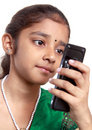 Free Indian Girl With Mobile Royalty Free Stock Photography - 17949867