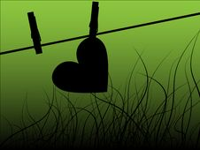 Free Paper Heart Drying On The Rope Stock Photography - 17940012