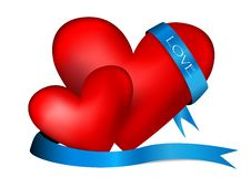 Free Two Hearts With Blue Tape Royalty Free Stock Photos - 17941108
