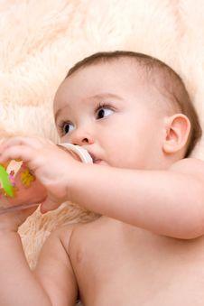 Little Caucasian Boy Drinking From The Bottle