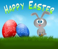 Free Happy Easter Bunny And Eggs Card Royalty Free Stock Photo - 17944305