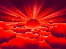 Free Vector Sunburst. Sunset On Cloud. EPS 8 Royalty Free Stock Photos - 17945058