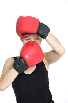 Free Woman Boxer Over White Royalty Free Stock Photography - 17945357