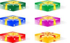 Free Gift Box With Glossy Yellow Ribbon Royalty Free Stock Photography - 17945507