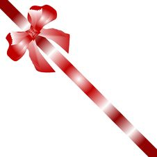 Free Gift Bow Red Satin With One Ribbon Isolated On Whi Royalty Free Stock Image - 17945686
