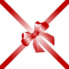 Free Gift Bow Red With Two Ribbon Isolated On White Royalty Free Stock Photography - 17945707