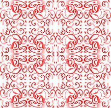 Free Red Seamless Background With Floral Ornament With Royalty Free Stock Photography - 17945737