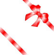 Free Gift Bow With Red Ribbon Isolated On White Stock Image - 17945761