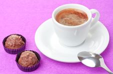 Free Coffee And Milk Chocolate Sweets With Hazelnut Stock Photography - 17946412