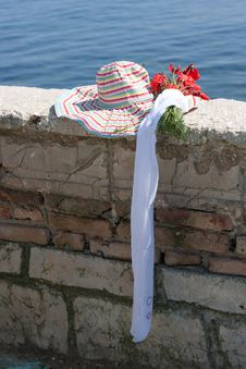 Woman S Hat On A Brick Protection Stock Images