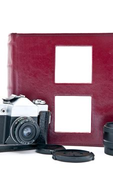 Free Retro Camera And Red Album Stock Image - 17946881