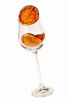 Free Wineglass With Dried Orange Slice. Stock Photography - 17946902