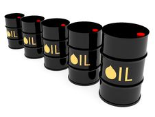 Free Black Oil Barrels Located By Diagonal Stock Images - 17947104