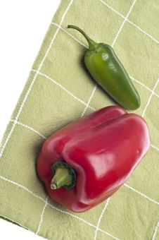 Red Bell Pepper And Jalapeno Pepper Stock Photography