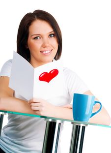 Free Girl Is Reading A Valentine Royalty Free Stock Photo - 17947885