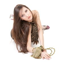 Free Lovely Brunette With Rope On White Royalty Free Stock Photo - 17948165