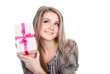 Free Woman With A Present Royalty Free Stock Photo - 17948315