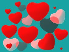 Free Red Shiny Hearts Royalty Free Stock Photos - 17948318