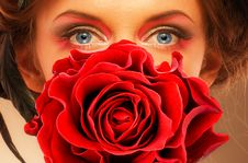 Free Woman And Red Rose Royalty Free Stock Photography - 17948507