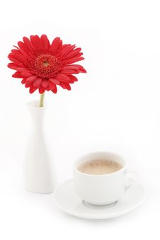 Free Flower In Vase Near Caup Of Coffee Stock Images - 17949054
