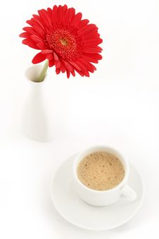 Free Flower In Vase Near Caup Of Coffee Royalty Free Stock Images - 17949059